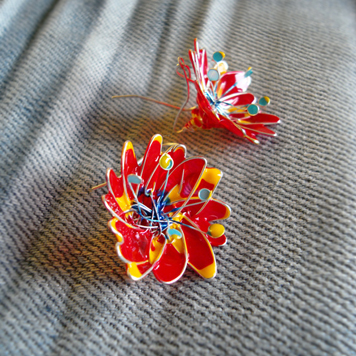 Kolczyki Kwiaty Czerwone