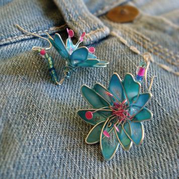 Kolczyki Kwiaty Błękitne