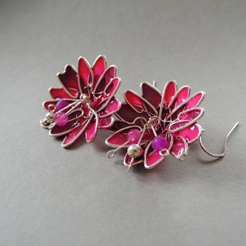 Kolczyki Kwiaty Amarantowe