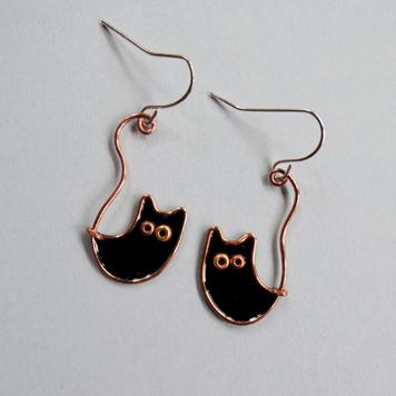 Kolczyki Koty Księżycowe Czarne