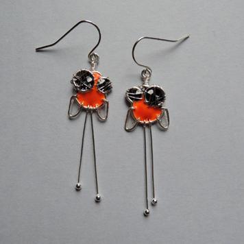 Kolczyki Muchy Pomarańczowe