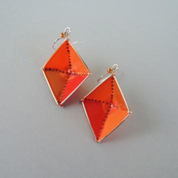 Kolczyki Romby Pomarańczowe