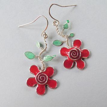 Kolczyki Kwiatki Malinowe