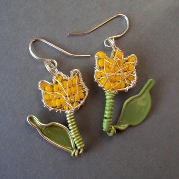 Kolczyki Tulipany Żółte