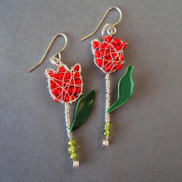 Kolczyki Czerwone Tulipany