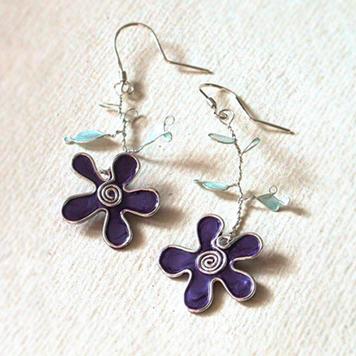 Kolczyki Kwiaty Fioletowe