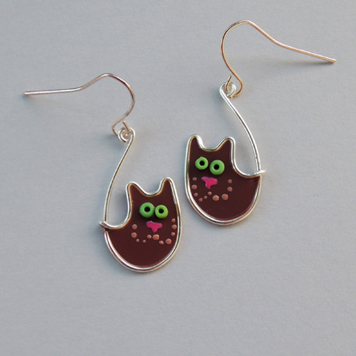 Kolczyki Koty Księżycowe Brązowe