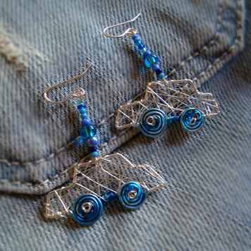 Kolczyki Samochody Niebieskie