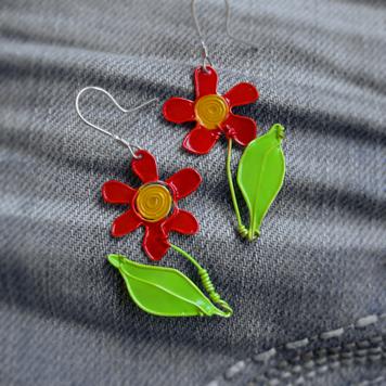 Kolczyki Kwiatki Czerwone