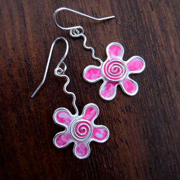 Kolczyki Kwiatki Jogurtowe