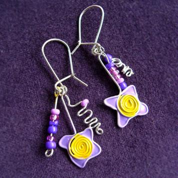 Kolczyki Kwiatki Liliowe