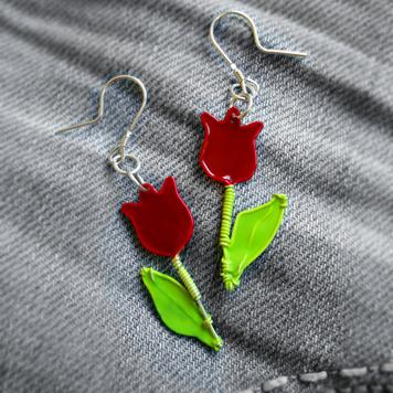 Kolczyki Tulipany Czerwone