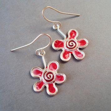Kolczyki Kwiatki Biało Czerwone