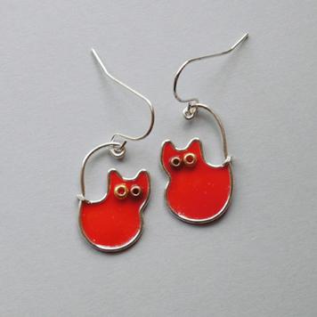 Kolczyki Kotki Pomarańczowe