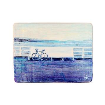 11 Drewniany Obrazek Pocztówka - Rower na Molo