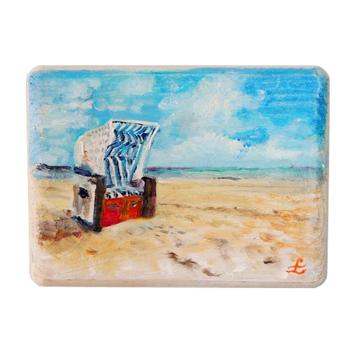 12 Drewniany Obrazek Pocztówka - Kosz Plażowy