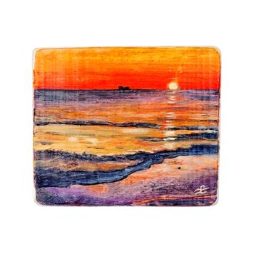 12 Drewniany Obrazek Pocztówka - Zachód Słońca