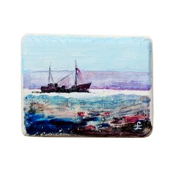14 Drewniany Obrazek Pocztówka - Statek na Morzu