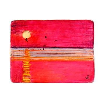 25 Drewniany Obrazek Pocztówka - Zachód Słońca