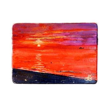 28 Drewniany Obrazek Pocztówka - Zachód Słońca