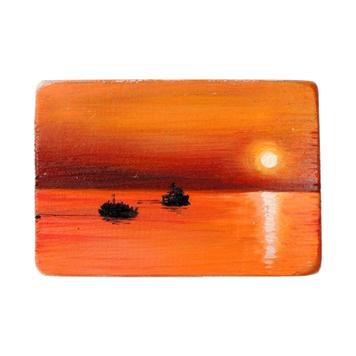 33 Drewniany Obrazek Pocztówka - Zachód Słońca