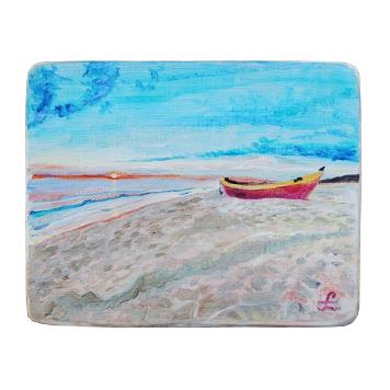 34 Drewniany Obrazek Pocztówka - Łódka na Plaży