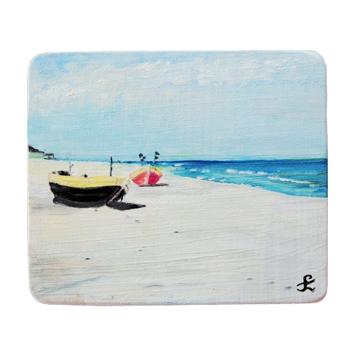 41 Drewniany Obrazek Pocztówka - Łódki na Plaży