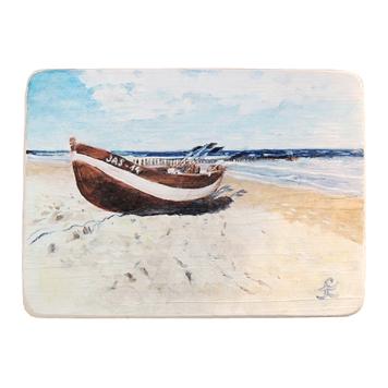 42 Drewniany Obrazek Pocztówka - Łódka na Plaży