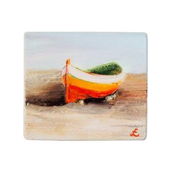 55 Drewniany Obrazek Pocztówka - Łódka na Plaży