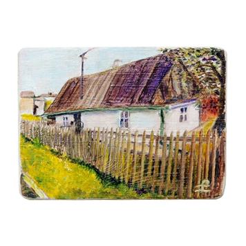 60 Drewniany Obrazek Pocztówka - Wiejska Chata