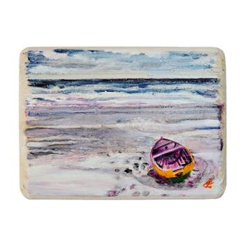 61 Drewniany Obrazek Pocztówka - Łódka na Plaży