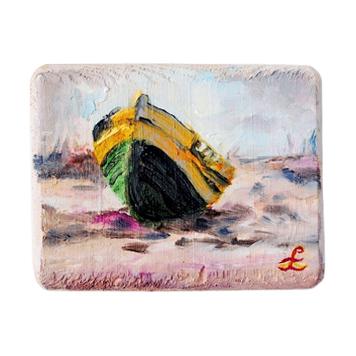 62 Drewniany Obrazek Pocztówka - Łódka na Plaży
