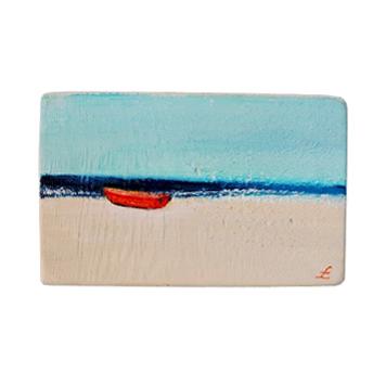 63 Drewniany Obrazek Pocztówka - Łódka na Plaży