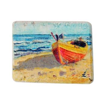 69 Drewniany Obrazek Pocztówka - Łódka na Plaży