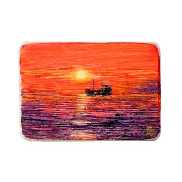 77 Drewniany Obrazek Pocztówka - Zachód Słońca
