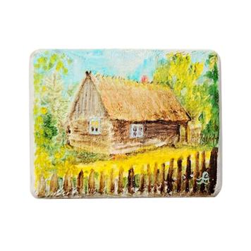 86 Drewniany Obrazek Pocztówka - Wiejska Chata