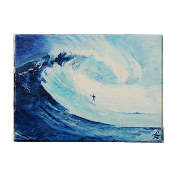 40 Drewniany Obrazek Pocztówka - Surfer na Fali