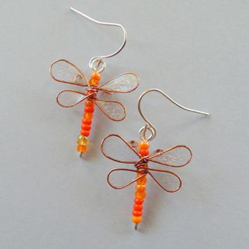 Kolczyki Pomarańczowe Ważki