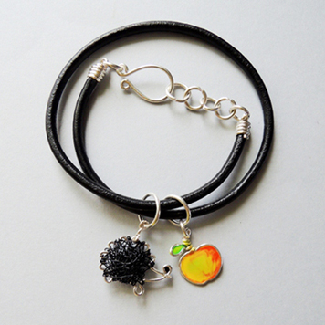 Thong Bracelet with Apple and Hedgehog