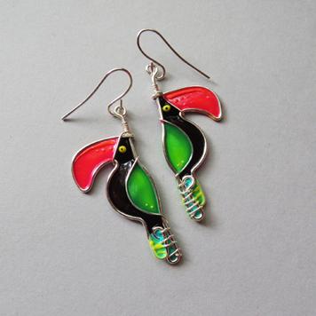 Kolczyki Tukany Zielone