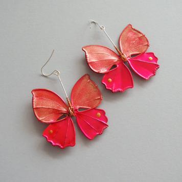 Kolczyki Motyle Malinowo Złote