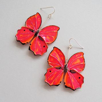 Kolczyki Motyle Malinowa Pomarańcza