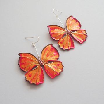 Kolczyki Motyle Złoto Malinowe