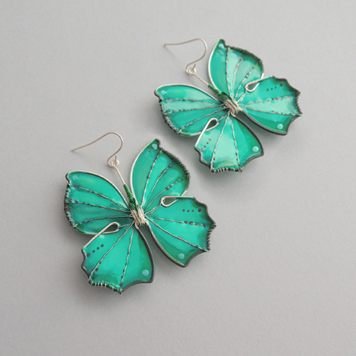 Kolczyki Motyle Turkusowe