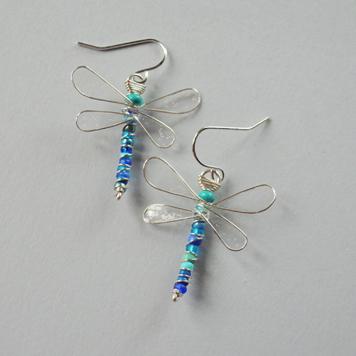 Kolczyki Ważki Transparentne z Niebieskim