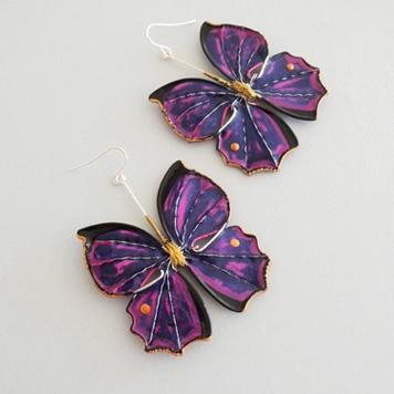 Kolczyki Motyle Fioletowe