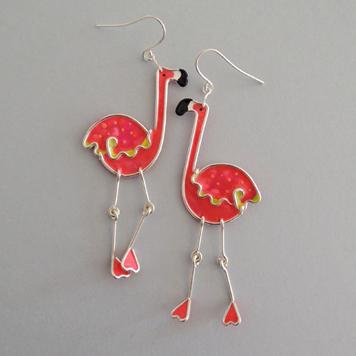Kolczyki Flamingi Różowe